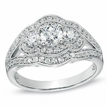 1 CT. T.W. Diamond Vintage-Style Three Stone Engagement Ring in 14K White Gold