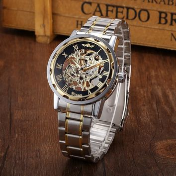 Men Hollow Skeleton Automatic Mechanical Stainless Steel Wrist Watch