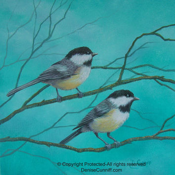 "Bird art chickadees, gray, teal and yellow decor, nursery decor, artwork,laundry room decor, bathroom art, original painting canvas 12""x12"""