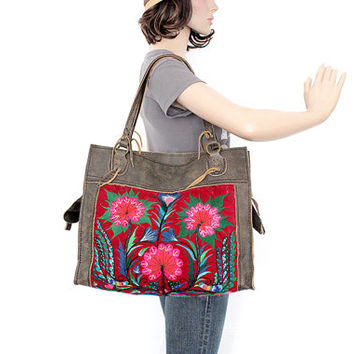 Tote Genuine Leather Bag Vintage Embroidered Fabric Hill Tribe Handmade Thailand  (BG073.700)