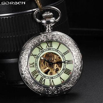 Luxury Silver Men Pocket Watch Luminous Dial Automatic Mechanical Pocket Watches Fob Chain Necklace Clock Best Gifts With Box