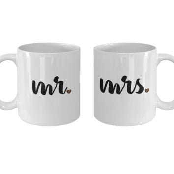 Mr and Mrs Coffee Mug Set, Couple Matching Mugs, Relationship Goals, His and Hers Gifts, Unique Anniversary Christmas Wedding Valentine's Day Gift, 11oz, Set of 2
