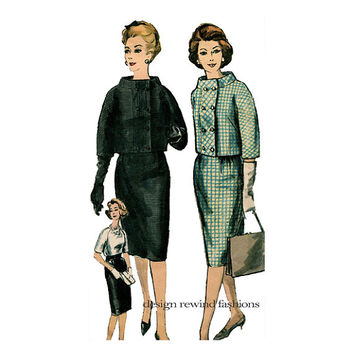 1960s Vogue JACKET SKIRT & BLOUSE Pattern Double Breasted Suit Jacket with Standing Collar Vogue 4180 Bust 34 Womens Vintage Sewing Patterns