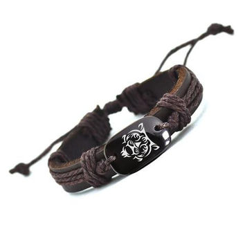 Handmade Leather Tiger Bracelet - Free + Shipping