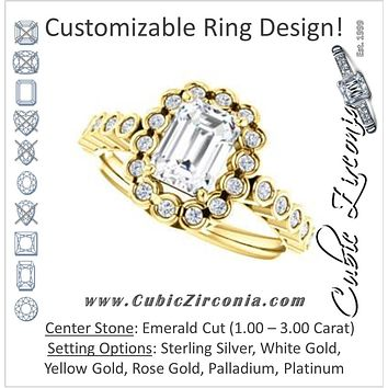 Cubic Zirconia Engagement Ring- The Journie (Customizable Emerald Cut Design with Round-Bezel Cluster Halo and Round Bezel Band Accents)