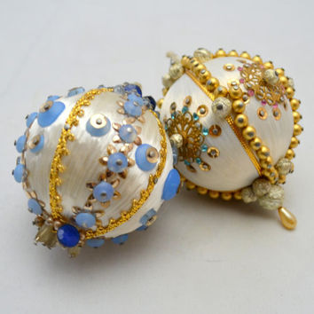 Vintage Beaded Christmas Ornaments, White Ornament Set of 2, Exquisitely Jeweled, Faux Pearls and Sequins, 1960s
