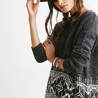 Diamond-Patterned Longline Sweater