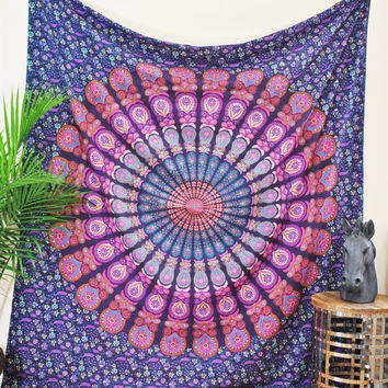 Purple Peacock Wall Tapestry, Stunning Mandala Tapestry, Wall Hanging Tapestry, Indian Tapestry, Hippie Tapestry,Bohemian, Wall Tapestry