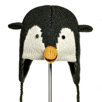 Knitwits Big Kids' and Adults' Peppy Penguin Fleece-Lined Wool Pilot Hat
