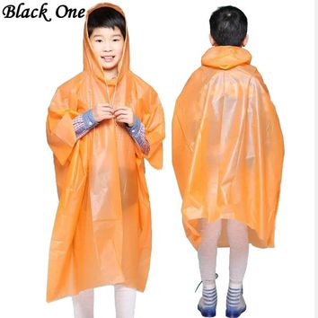 Children Poncho Rain Waterproof Raincoat Waterproof Transparent Kids Disposable Rain Coat Cover Kids Rainwear Camping regenjas