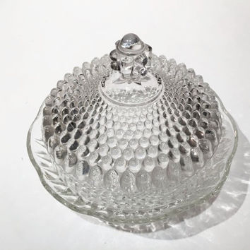 Footed Hobnail Candy Bowl with Lid, Clear Glass Footed Covered Butter Dish, Butter Keeper, Clear Hobnail Glass Footed Candy Dish with Lid