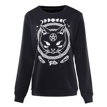 Gothic Moon Phase Witchcraft Cat Printed Harajuku Women Sweatshirts Loose Pullover For Gothic Girl Autumn