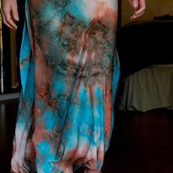 earthy tie dye double side slit wrap boho gypsy beach festival dance maxi skirt