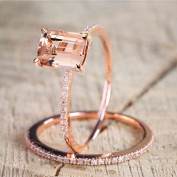 2pcs/set Rose Gold Crystal Exquisite Floral Rings Fashion Jewelry Birthday Party Wedding Gifts For Girl Friend