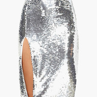 Silver High Side Slit Sequined Midi Skirt
