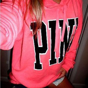 Victoria's Secret Pink Print Pattern Fashion Women Loose Long Sleeve Hoodie Top Sweater Pink I