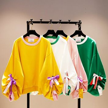 Harajuku Style Girl Student Pure Color Hoodies Hit Color Bow Long Sleeve Tops Autumn New Design Puff Sleeve Sweatshirts