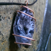 Oco Geode Copper Wire Wrapped Crystal Leather Necklace