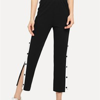 SHEIN Black Colorblock Contrast Snap Button Side Pants Casual High Waist Crop Trousers Women Stretchy Athleisure Pants