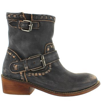 Musse & Cloud Anzel - Black Distressed Leather Dual Buckle Strap Western Bootie