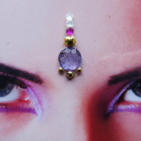 lilac,gold,pink bindi - indian hindu woman jewelry - tribal fusion bellydance accessory - rhinestone face decoration