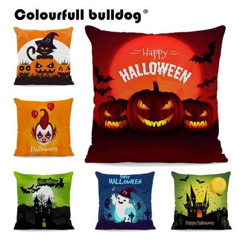 Halloween Pumpkin Cushion Cover Cat Castle Tree Branch Case Pillow Skull Ghost Trick or Treat Room Decoration Pillows 43*43 cm