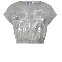 Teens Grey Foil 96 Ruched Hem Crop Top