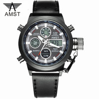 Male Fashion Sport Military Wristwatches 2016 New AMST Watches Men Luxury Brand 5ATM 50m Dive LED Digital Analog Quartz Watches
