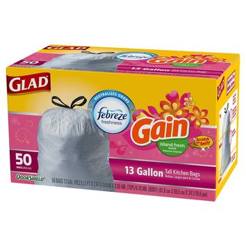 Glad OdorShield Gain Island Fresh Tall Kitchen Drawstring Trash Bags 13 gal 50 ct : Target