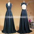 Fashion Dark Navy Evening Dress 2015 Popular Lace Applique A-line Floor-length Long Prom Gown Keyhole Back Design Mother of the Bride Dress