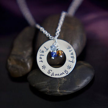 Mothers Day Gift - Mommy Necklace - Personalized Jewelry - Engraved Necklace - Birthstone Jewelry - Personalized Necklace - Washer