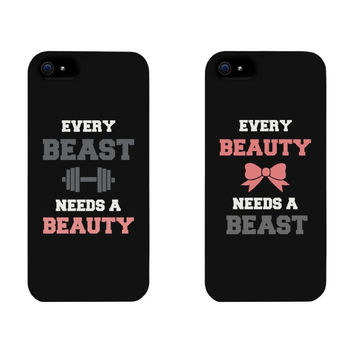 Beauty and Beast Lovers Pink Bow His and Hers Cell Phone Print Hard Sweetheart Cases Cover Skin for iphone 4/4s/5/5s/5c/6/6s/6plus/6s plus