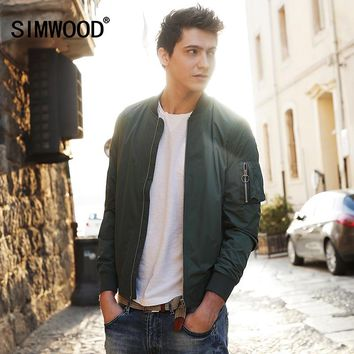SIMWOOD 2018 New Autumn  Bomber Jacket Men Windbreaker Fashion Casual Coats Slim fit Brand Clothing  Plus Size Outerwear  WJ1664