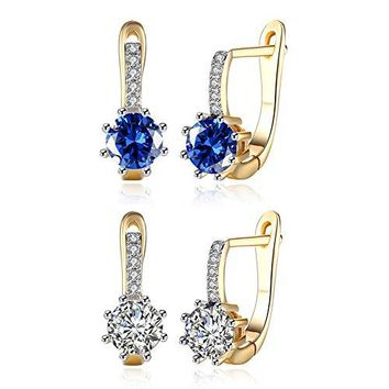 14MM Small Huggie hoop earrings14K Yellow Gold Plated with Small Inlay ClearBlue CZ Cubic Zirconia Hypoallergenic Stud Hoops For Women Teen Girls Sensitive Ears