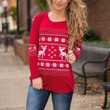 Reindeer Pause Top, Red
