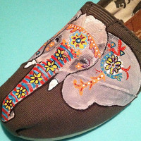 Indian Elephant Custom Hand Painted TOMS