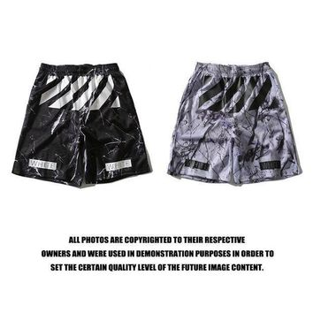 Off White Sports Casual Pants Shorts Print Permeable Basketball [415654379556]