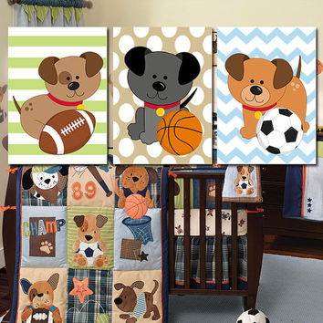 Dogs Wall Art Puppy Nursery SPORTS Boy Artwork Bedroom Child DOG Puppies Theme Chevron Pattern Set of 3 Prints Baby Decor Crib Three
