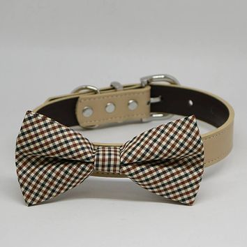 Plaid Brown Black Ivory bow tie dog collar, Pet Wedding Accessories, Handmade Gifts
