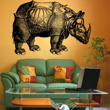 Vinyl Wall Decal Sticker Albrecht Durer Rhinoceros #1194