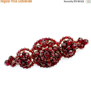 Victorian Bohemian Garnet Bar Brooch, Floriated Design, Antique Jewelry, Three Tiered Design, Rose Cut, Vintage Bridal, Special Occasion