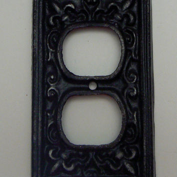 Fleur de lis Cast Iron Plug Plate Cover Single Wall Shabby Chic Distressed Rustic French Decor FDL Classic Black