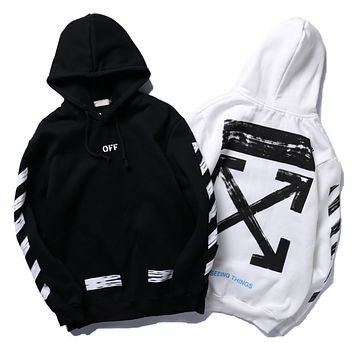 off white autumn and winter men and women plus cashmere hooded hoodie sweater