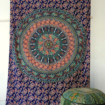 BLUE mandala elephant tapestry cotton hippie wall hanging tapestries boho bohemian bedding throw ethnic wall home decorative art