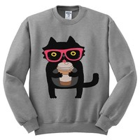 Hipster Cat with Coffee Mens Sweatshirt