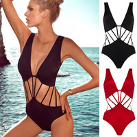 Sexy More Rope One-Piece Swimsuit Deep V Women's Bathing Suit Swimwear