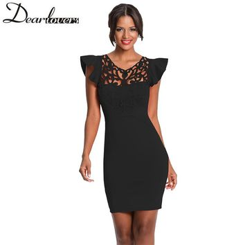 Dear Lover summer dress women Ruffle short Sleeves Lace Hollow Out Solid Bodycon dress Elegant Club party mini Dress LC220287