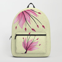 Pink Abstract Water Lily Flower Backpack by borianagiormova