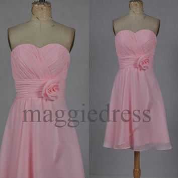 Custom Pink Short Bridesmaid Dresses 2014 Party Dresses Formal Prom Dress Evening Dresees Wedding Party Dress Homecoming Dresses