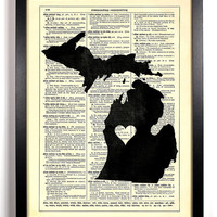 Michigan State Dictionary Book Print Upcycled Book Art Upcycled Vintage Book Print Antique Dictionary Buy 2 Get 1 FREE